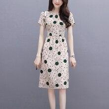 Yfashion Women Dress Summer Elegant Slim High Waist Wave Point Dresses Clothes Short Sleeve Office