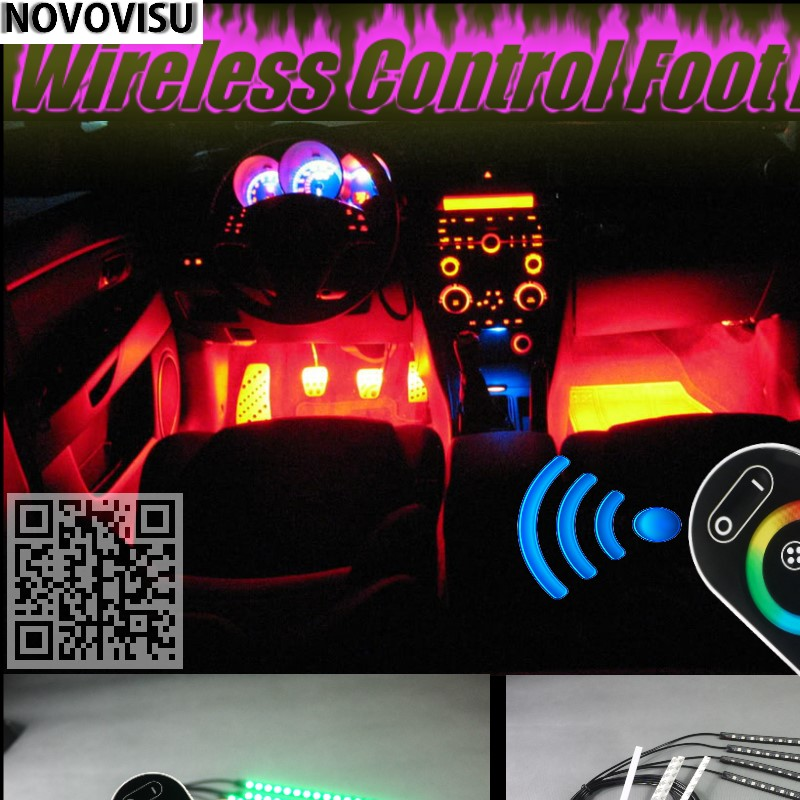 NOVOVISU For Volvo S70 Wireless Control Color Neon Glow Interior Under Dash Footwell Decorative Atmosphere Seat Accent Light stylish strapless sleeveless ombre color maxi dress for women page 7