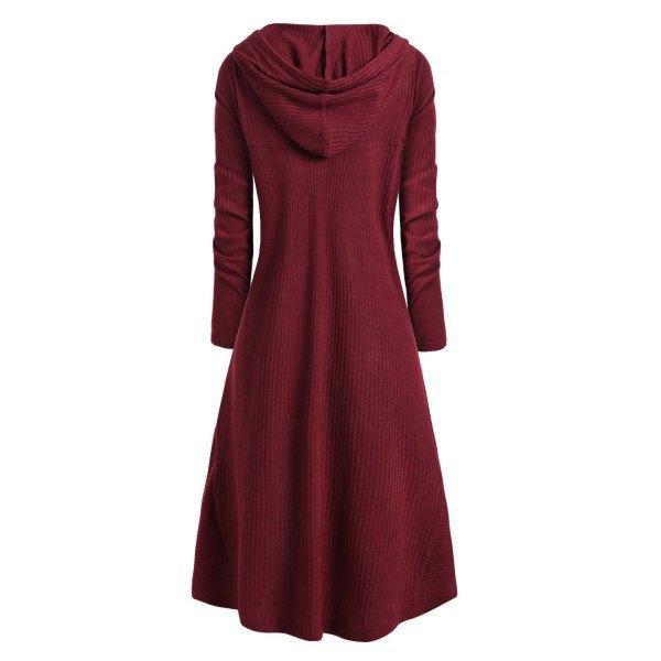 TryEverything Gothic Punk Jacket Women Black Hooded Plus size Winter 19 Coat Female Long Womens Jackets And Coats Clothing 11
