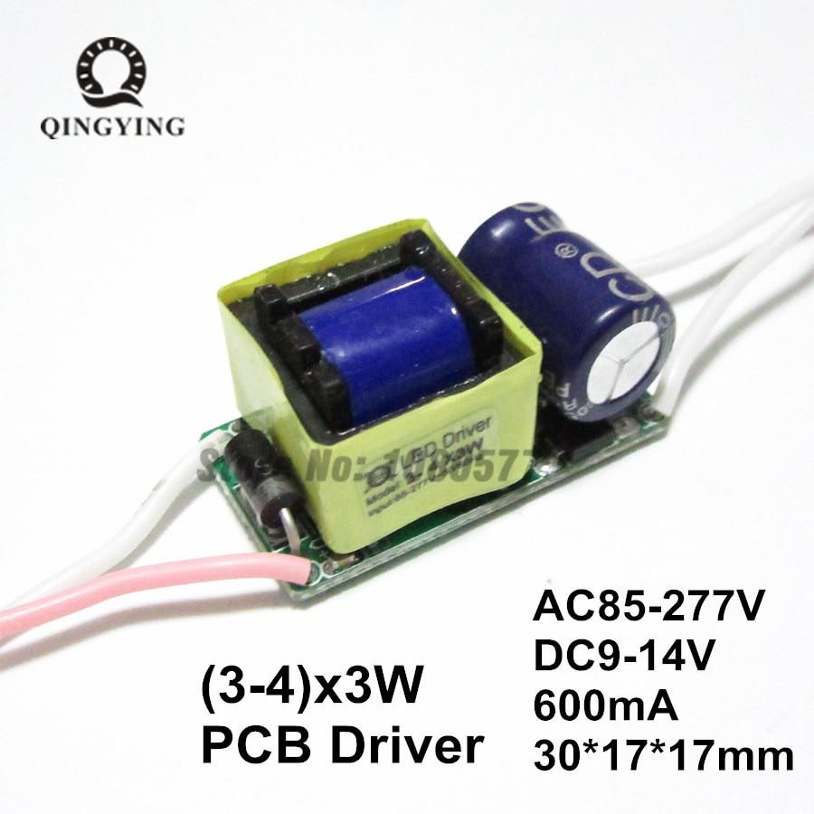 10pcs 3-4x3w Shofer LED izolues AC85-277V DC9-14V, 3x3w 4x3w 600ma transformatorë konstantë aktual LED Furnizues me energji elektrike për llambë DIY