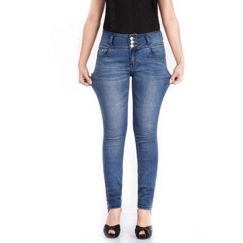 Stretch Jeans For Women Skinny Mid Waist Triple Breasted Jeans Woman Elastic Autumn Jeans Plus Size