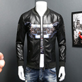 Fashion PU Leather Jacket 2016 Top Quality Plus Size Motorcycle Jacket Stand Collar Slim Fit Long Sleeve Man Coat Mens Clothes