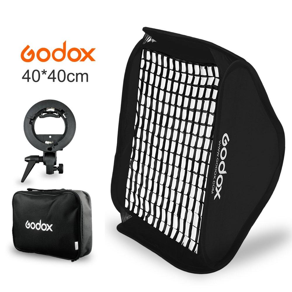 Godox 40x40cm 15 * 15 Flash Diffuser Softbox Kit + Honeycomb Grid + S-type Bracket Bowens Holder for Speedlite Flash Light