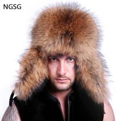 Распродажа, шапка-ушанка, меховая шапка для мужчин, хатска ушанка, Зимняя шляпа из натуральной кожи с ушками, ушанка, шапка-ушанка