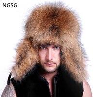 Russian bomber leather fur hat men winter hats with ear flaps trapper black fox earflap cap man real raccoon fur hatska ushanka