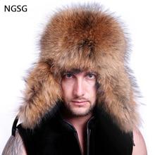 e3b2499da9b Clearance sale russian bomber fur hat men hatska ushanka winter genuine  leather hat with ear flaps