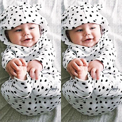 Hot Sale Newborn Baby Boys Girls Cute Hooded Tops+ Pants Legging Outfits Set 2pcs Clothes