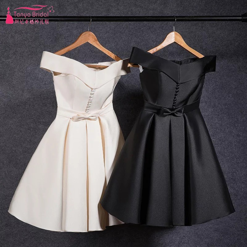 Champagne Begie Knee Length   Bridesmaid     Dresses   2018 Black Satin Simple Cheap   Bridesmaids     Dress   Gown DQG437 In Stock