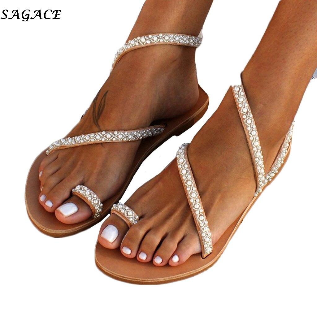 SAGACE Flat Sandals Women Summer Vintage Boho Pearl Decoration Sandals Women Beach Holiday Shoes Woman Leather Flats Shoes 2019