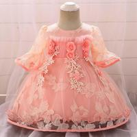 1PC Pink Yellow Baby Girl Princess Dress 3D Flowers Sequin Birthday Party Outfit Infant Flower Girl Dress
