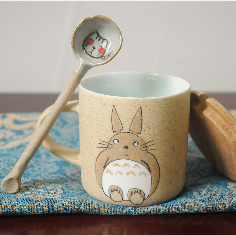 Totoro Handmade Ceramics Mugs With Spoon and cover
