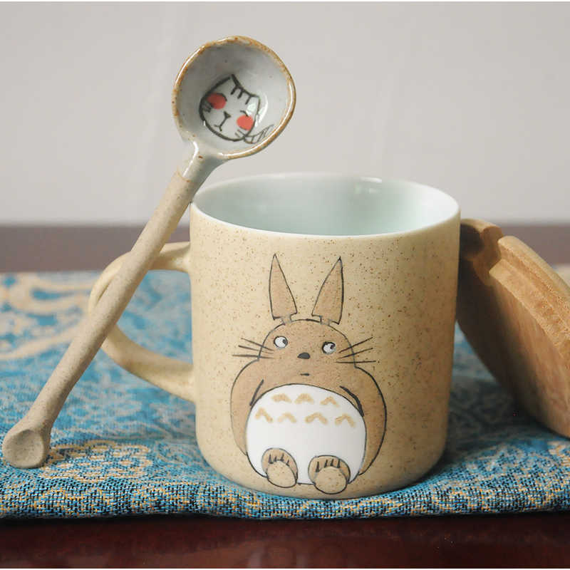 High Quality 250ml Hand Make Ceramics Mugs With Spoon and Cover Totoro  Cartoon Theme Milk Mugs Cup Kitchen Tools