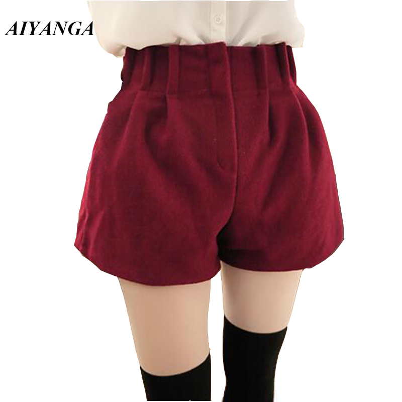 AIYANGA Fashion Women Woolen   Shorts   2018 Autumn Winter Elastic Waist Big Size Loose Wind Leg   Shorts   Solid Color Red Green Black