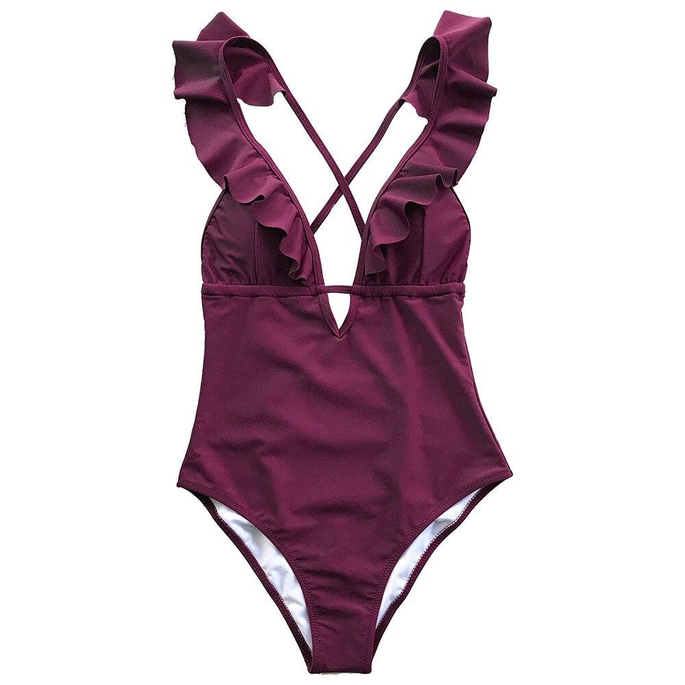 6d66df5be781d CUPSHE Burgundy Heart Attack Falbala One-piece Swimsuit Women Ruffle V-neck  Monokini 2019