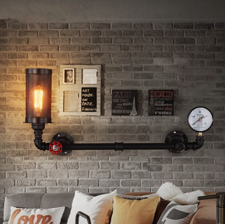 Hot Sale American Retro Aisle Stairs Balcony Iron Wall Lamp Loft Style Restaurant Bar Cafe Water Pipe Lights Free Shipping 1 heads american industrial vintage loft style creative personality iron water pipe restaurant retro wall lamp free shipping