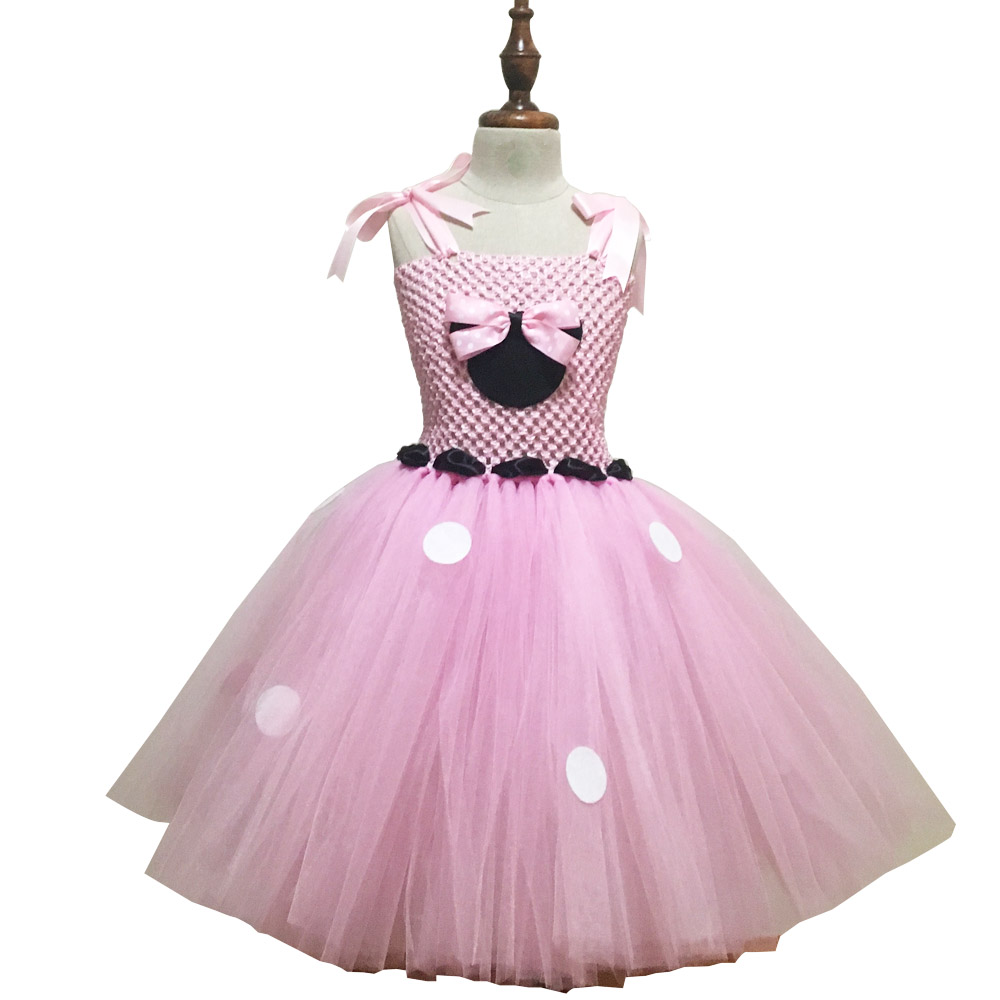 9711350f2d Pink Minnie Fluffy Dress with Polka Dots Girls Fancy Cosplay Costume Baby  Girl 1st Birthday Party