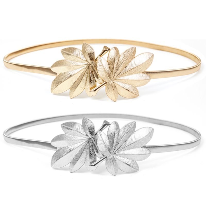 Women Skinny Waistband Maple Leaf Shape Metal Buckle Glitter Solid Color Elastic Wedding Dress Waist   Belt   Gold/Silver
