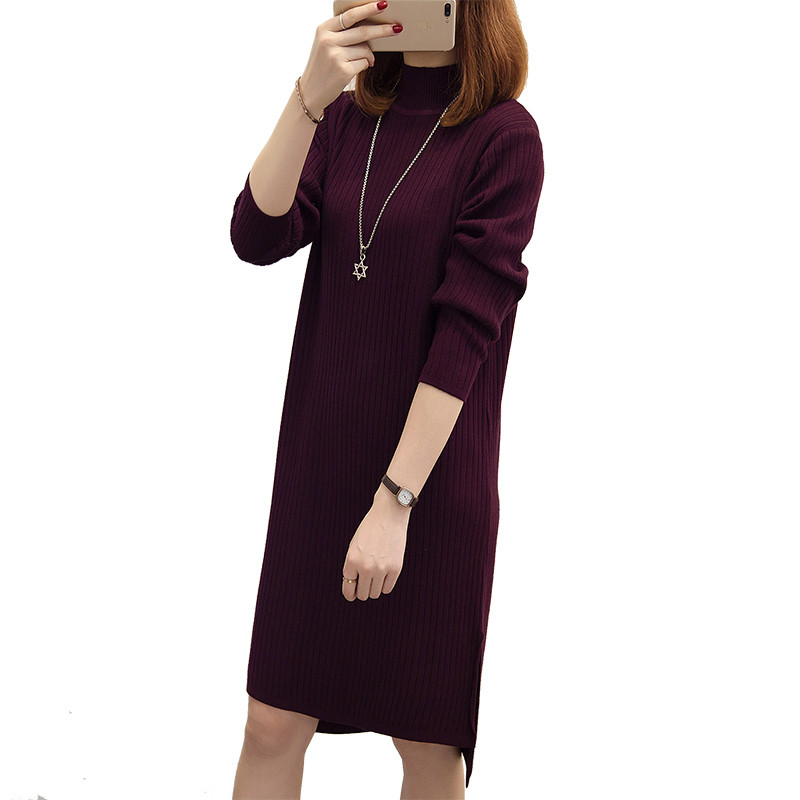2018 Winter Women Sweater Pullover Dresses Soft Long Sleeve Slim Bodycon Warm Femme Casual Dress Sexy Knitted Autumn Dress S137