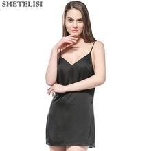Classic Fashion Solid Satin Chiffon Women Nightgown Slinky Nightdress Sheer Chemises Sleeveless Sleepwear Trim Nightie sp0076