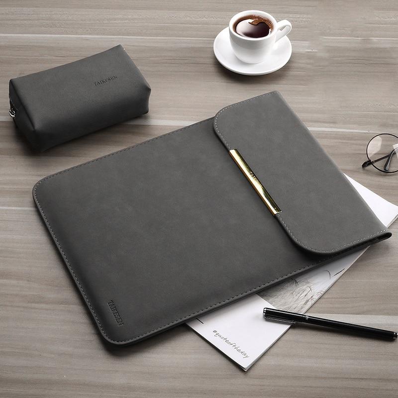 Couro do plutônio das mulheres dos homens matte manga bolsa para portátil 15.6 14 para macbook air 13 caso pro 11 12 15 para xiaomi mi notebook 12.5 13.3 capa