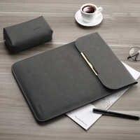 PU cuir femmes hommes mat manches pochette d'ordinateur 15.6 14 pour Macbook Air 13 Case Pro 11 12 15 pour Xiao mi mi Notebook 12.5 13.3 couverture