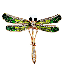 Dragonfly Enamel Pins Female Brooches Crystal Broche Gold Color Alloy Enamel Pins Cute Brooches Garments Decoration Accessory