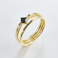 Square Black CZ 925 Sterling Silver Stackable Golden Rings