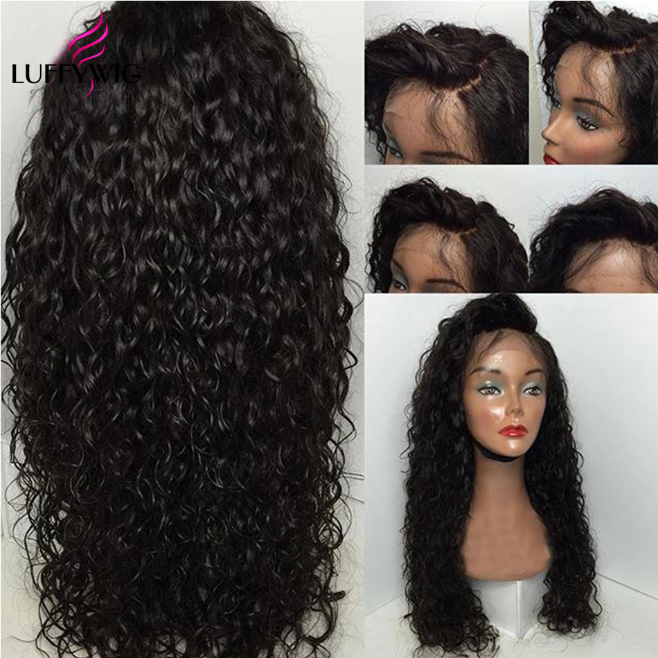 LUFFYHAIR 5*4.5 Silk Base Full Lace Curly Human Hair Wig Brazilian Remy Hair Pre Plucked Hairline With Baby Hair Lace Wigs