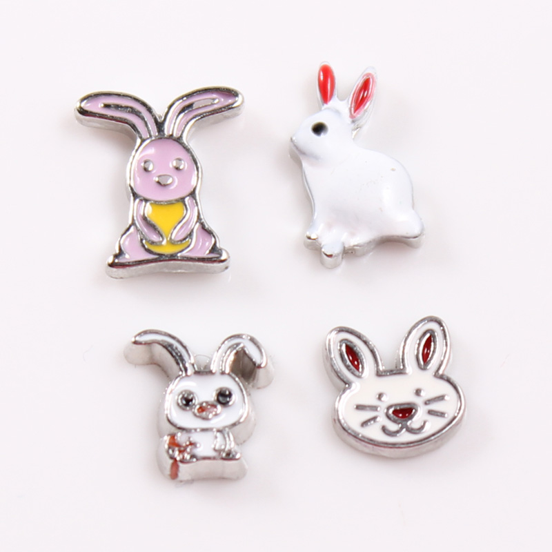 30pcs/lot Easter Rabbits Floating Charms Fit For 30mm Living Glass Floating Lockets