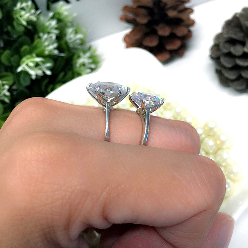 MOONROCY Silver Color Cubic Zirconia Crystal Promise Wedding Rings for Women 5 Carat Bride Accessories Jewelry Dropshipping 3