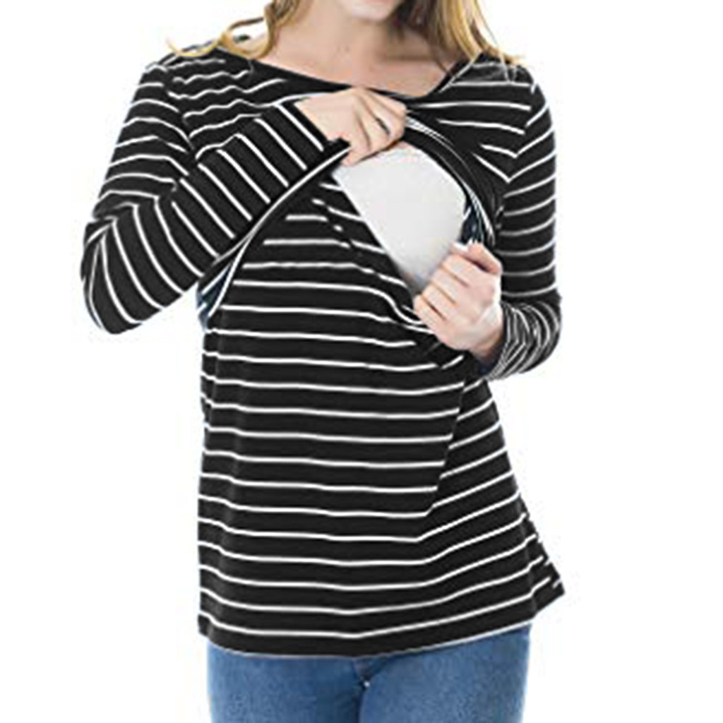 Cotton Stripe Pregnant Women Nursing T-shirts Breastfeeding Maternity Tops