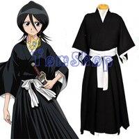 Anime BLEACH Kuchiki Rukia Cosplay Shinigami Death Kimono Soul Reaper Full Set Halloween Costume Tops Pants