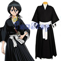 Anime BLEACH Kuchiki Rukia Cosplay Shinigami Death Kimono Soul Reaper Full Set Halloween Costume (Tops+Pants+Sash) Free Shipping