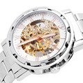 FLENT Men skeleton Watch Full Steel Mechanical Wristwatch