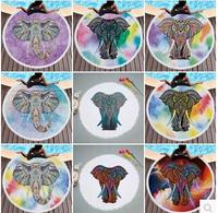 fashion elephant printed round beach towel dreamcatcher seaside vacation camping mat mandala Tassel Large beach mat
