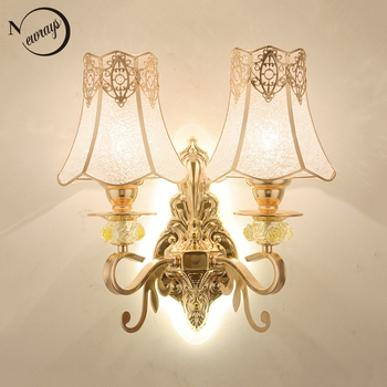 Modern plated double acrylic head wall Lamp LED E27 220V 5 styles Lustrous Wall Light for living room bedside hallway hotel cafe