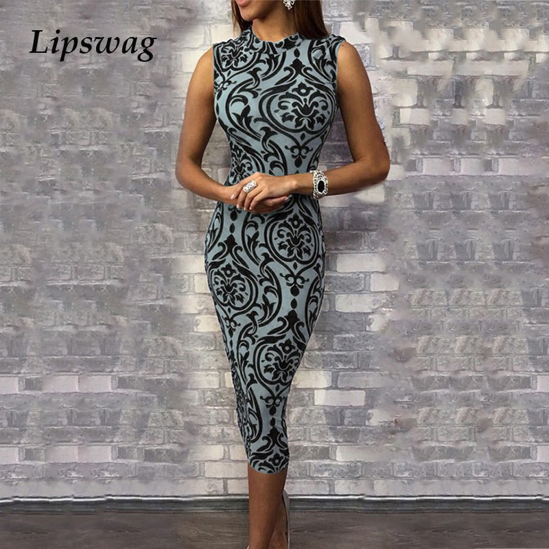 Lipswag Vintage Floral Print O Neck Bodycon Dress Women Summer Sleeveless Slim Midi Dresses Elegant Elastic Bag Hip Pencil Dress image