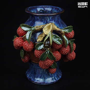Shiwan doll boutique hand pull litchi embryo lankun vase ceramic ornaments crafts decoration room office