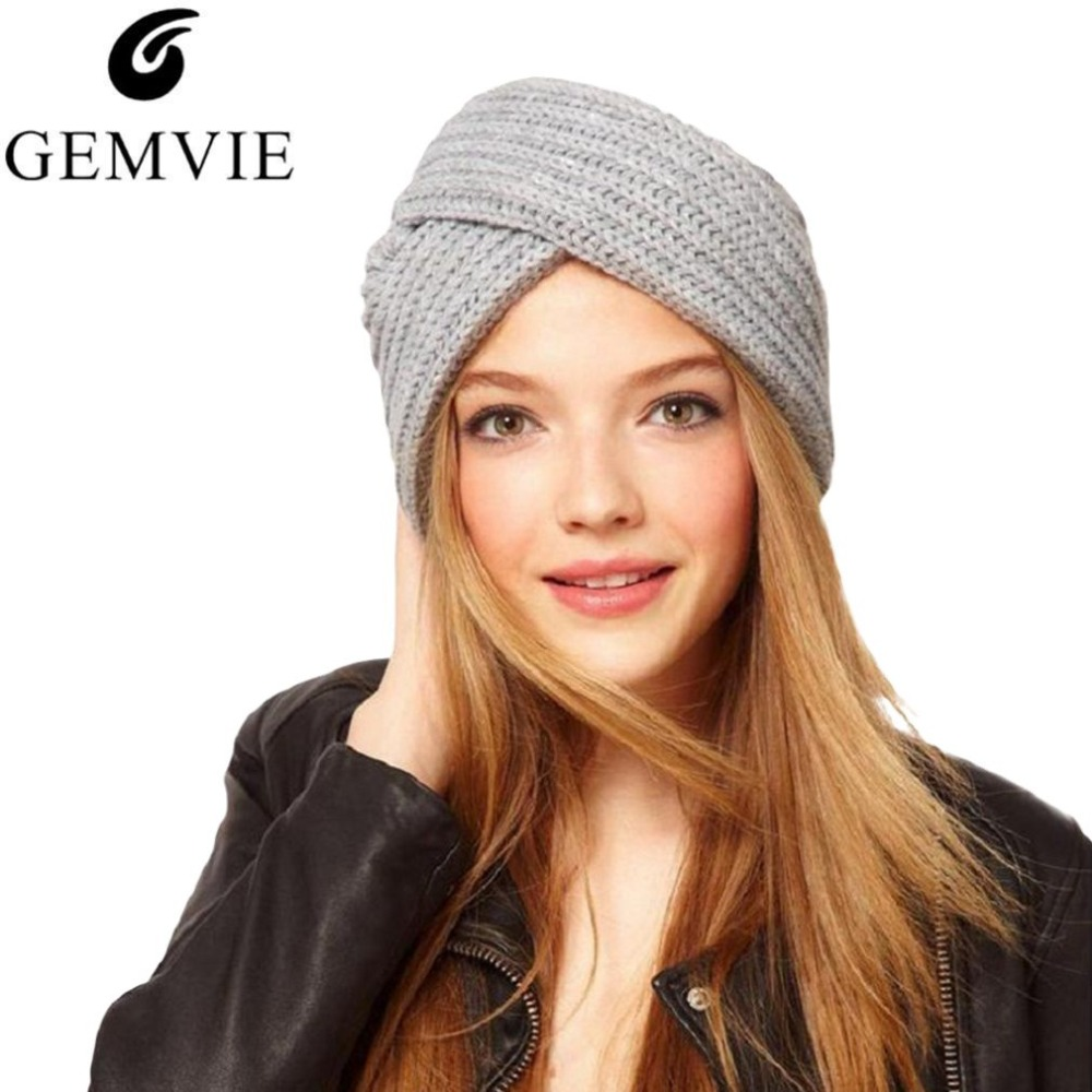 2018 Winter Knit Cap for Women Warm Woolen Blend Hats   Skullies     Beanies   Solid Color Knitted Hat Warm Hat