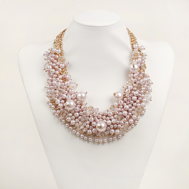c0f3c2aa27d3 Luxury Jewelry Women Pink Pearl Necklace Pendant Crystal Collar Bib Choker  Boho Collier Femme Maxi Statement