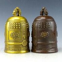 MOEHOMES+Chinese Vintage Brass fengshui Tibetan buddhist statue lotus flower big bell vintage home decor metal handicraft