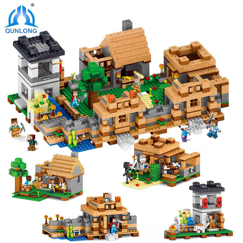 Qunlong 4In1 Neverland Ranch Minecrafted Building Blocks Compatible Legoings DIY Action Figures Toys For Children Birthday Gifts legos for boys ninjago