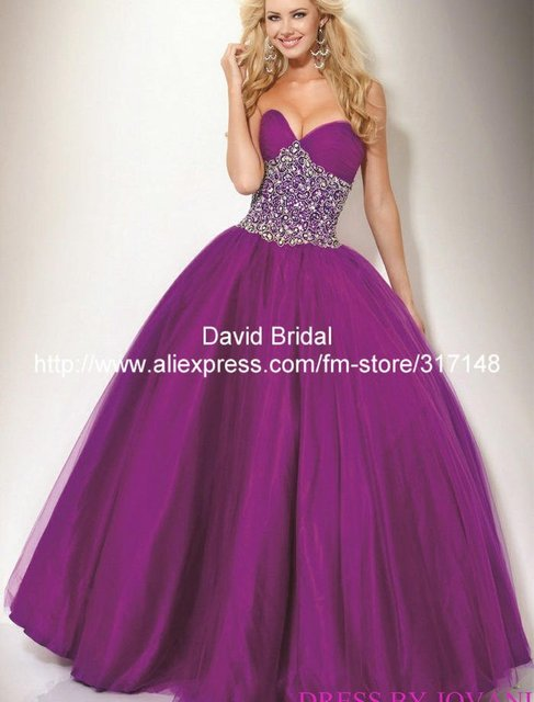 New Arrival Da072 Sparkly Beaded Sweetheart Designer Purple Ball