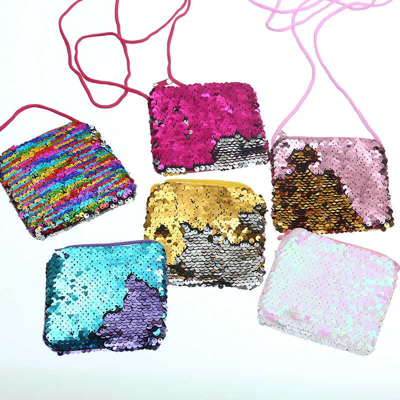 Mulheres Cauda de Sereia Lantejoulas Bolsa Da Moeda Meninas Sacos Crossbody Sling Mudança Dinheiro Titular do Cartão Bolsa Carteira Bag Bolsa Para Crianças presentes