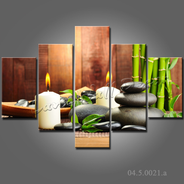 Bamboo Room Decor: 5 Pieces Wall Art Oil Painting Spa Stone Bamboo Candels