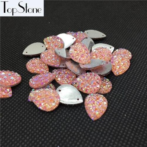 Каплевидные Пришивные бусины 100 шт 10x14 мм 13x18 мм цвета кристалл AB смолы Flatback пришивные стразы 2 отверстия для повседневного платья - Цвет: pink ab
