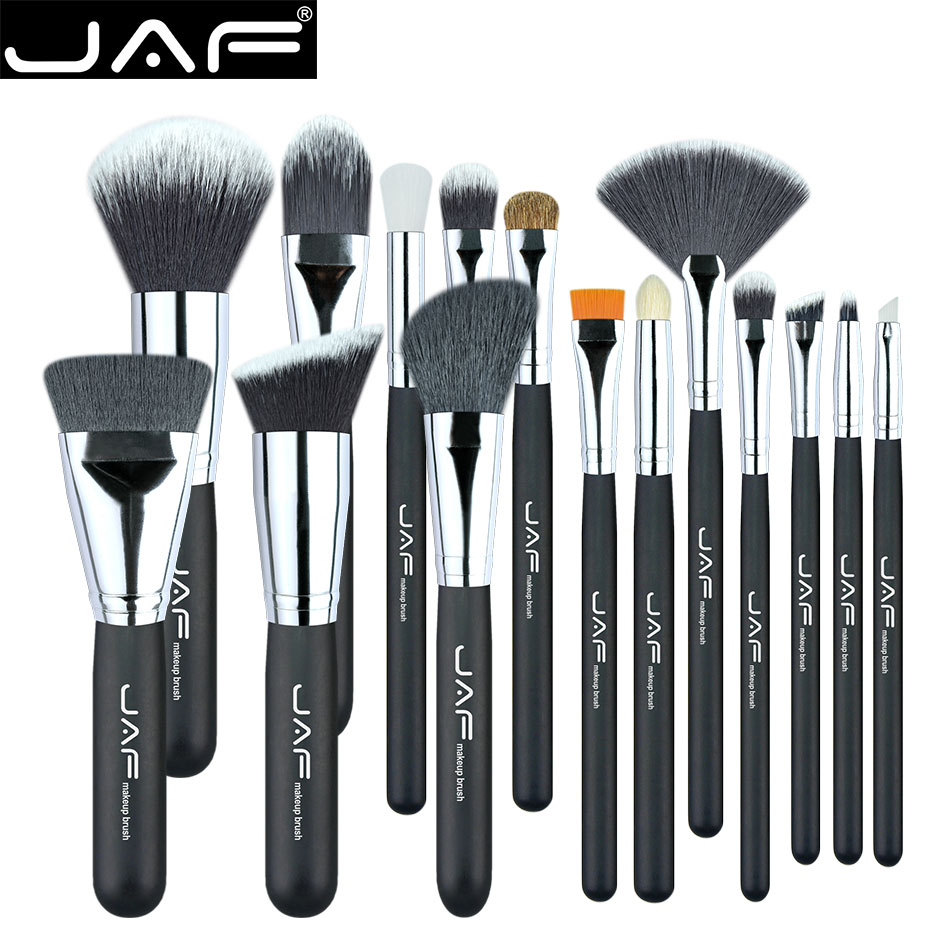 JAF 15 PCS Professional Makeup Brushes Natural and Synthetic Hair Make Up Brush Set Suitable for Traveling J1502SSY-B