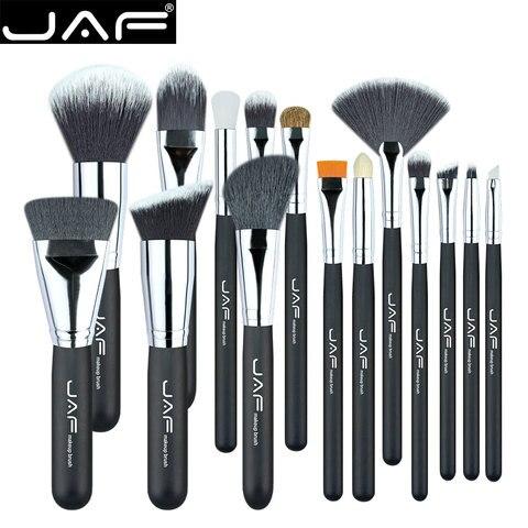 jaf 15 pcs pinceis de maquiagem profissional cabelo natural e sintetico compoem escova conjunto adequado