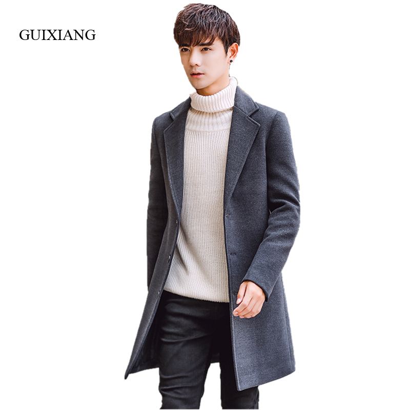 2017 New Winter Style Men Woolen Coat Fashion Leisure Single Breasted Slim Men's Solid Windbreaker Jacket Coat Large Size M-5XL