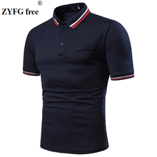 ZYFG free men Polo shirt turn-down collar short-sleeved casual polo shirts simple slim fit male tops